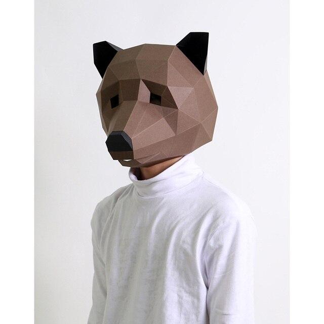 מסכת ראש אוריגמי - דוב חום 2