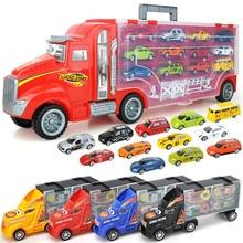 Porte-conteneur de voiture de Transport, grand camion, véhicules jouets avec Mini voitures moulées, modèle de jouets pour enfants, cadeaux d'anniversaire pour garçons, nouvelle collection