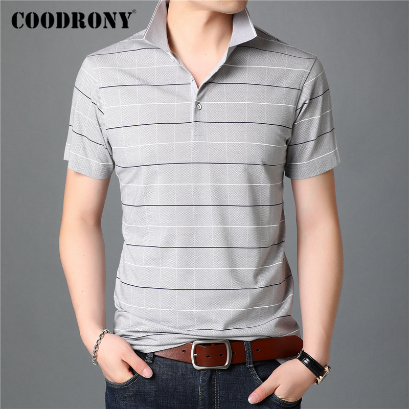 COODRONY Classic Striped T Shirt Men Spring Summer Short Sleeve T-Shirt Business Casual Turn-down Collar Tee Shirt Homme C5031S