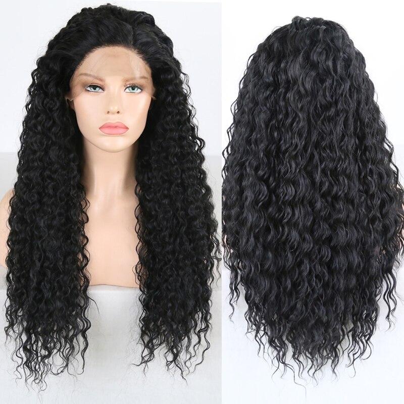 Charisma-peluca negra rizada con minimechones, peluca con malla frontal, pelo de fibra resistente al calor, pelucas para uso diario para mujeres negras