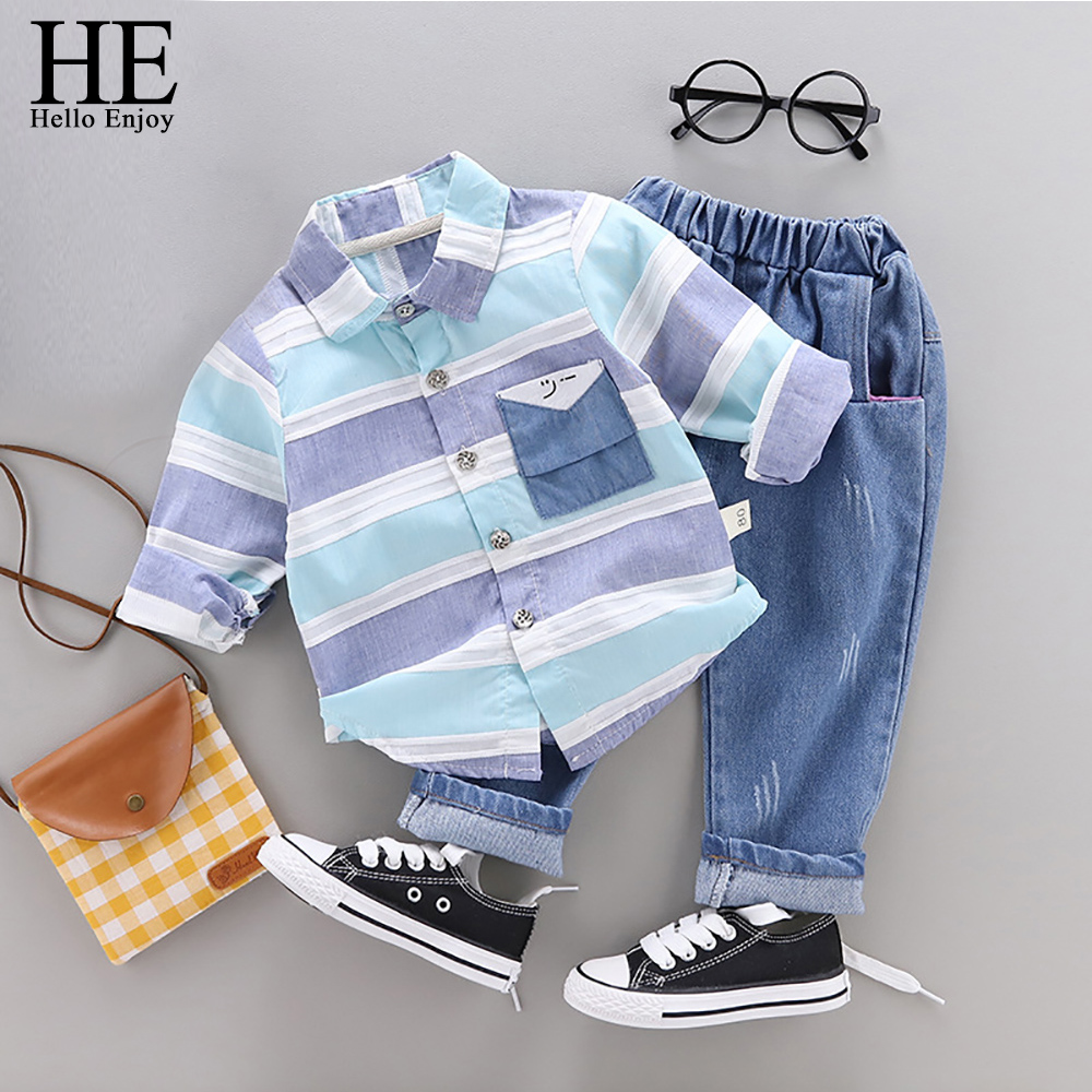 HE Hello Baby Boy Clothing Sets Autumn Long-Sleeve Shirt + Jeans Suit Toddler Fashion Cotton Clothing Infant Casual Tracksuits