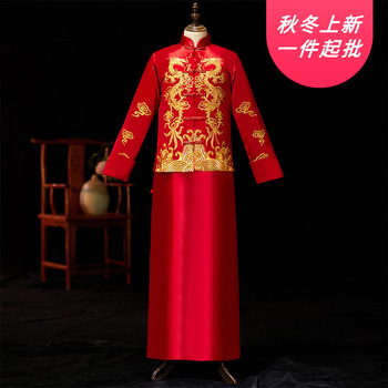 2020 Mao garnitur męski oblubieniec pod suknią ślubną w stylu chińskim Longfeng istniejący strój tang męska Xiuhe mężczyźni pokaż duże stocznie i tanie i dobre opinie GENGLI Poliester Smokingi Dobby Male XiuHe F88 Four seasons Wedding Spring 2020 Embroidery embroidery Left a may also directly photographed left S