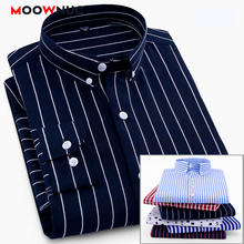 Shirts Mens Business Casual Coverall S-4XL 2020 Non-Ironing Striped Classic British Style Slim Fashion Long Sleeve Male Hombre