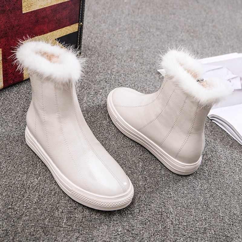 Kış bayanlar Patent deri polar astar kar botları kadın kürk yuvarlak ayak daireler yarım çizmeler sıcak rahat ayakkabılar Streetwear botları