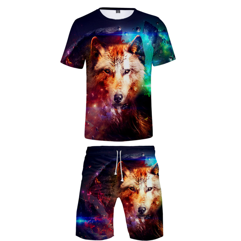 2019 Galaxy Wolf Two Piece Set Tshirt And Shorts Harajuku Men Wolf T Shirt Streetwear Harajuku Short Sleeve Plus Size Streetwear