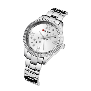 цена CURREN Women Watch Luxury Rhinestone Ladies Watches Creative Dial Silver Stainless Steel Waterproof Wrist Watches Reloj Mujer онлайн в 2017 году
