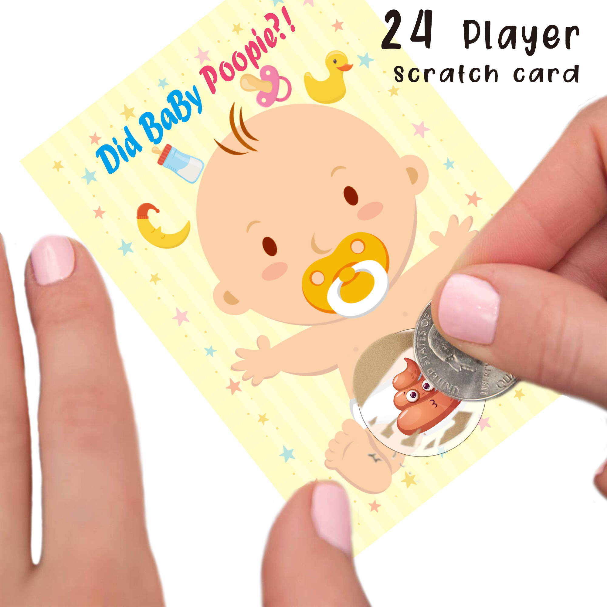 24 Players Baby Shower Scratch Off Game - Gender Neutral, Boy, Girl - Funny Activity