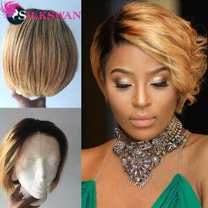 Image 3 - Silkswan Brasilianische Gerade Haar 13*4 Spitze Front perücken 1b/27 menschenhaar perücken für frauen Remy Haar 150% dichte Kurze Haare Perücke