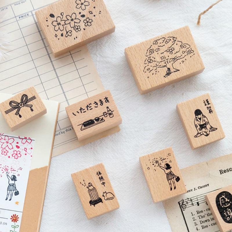 Sakura Days Cute Japanese Fashion Wooden Stamps Pack 6 Designs Mixed DIY Scrapbooking Sticker Journal Diary Decoration Supplies