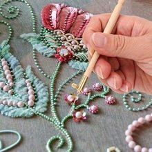 Ensemble d'outils de couture, aiguilles de broderie française, Crochet de Tambour avec 3 aiguilles #0