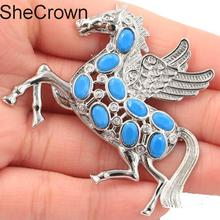 56x45mm New Arrival Pegasus Shape Blue Turquoise CZ Girls Silver Brooch