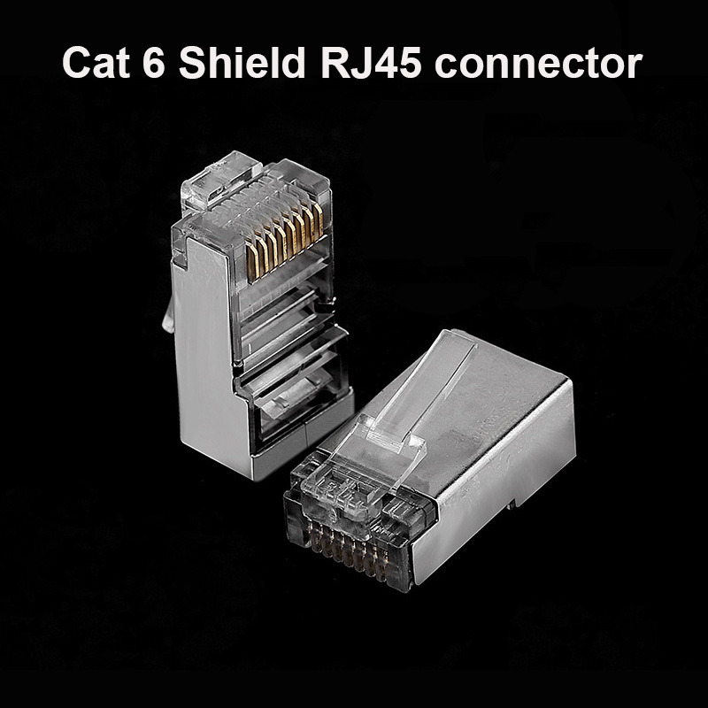 OULLX Cat6 RJ45 Plug Ethernet Cable Connector Male Network 8P8C 8Pin RJ 45 Stp Shielded Terminals Cat 6 Gold Plated