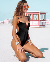2020 Hot Selling Europe And America One-piece Bikini Bathing Suit Sexy Solid Color Swimwear 2020 new style swimwear multi color solid color printed high waisted two piece swimsuits bikin bikini europe and america swimwea
