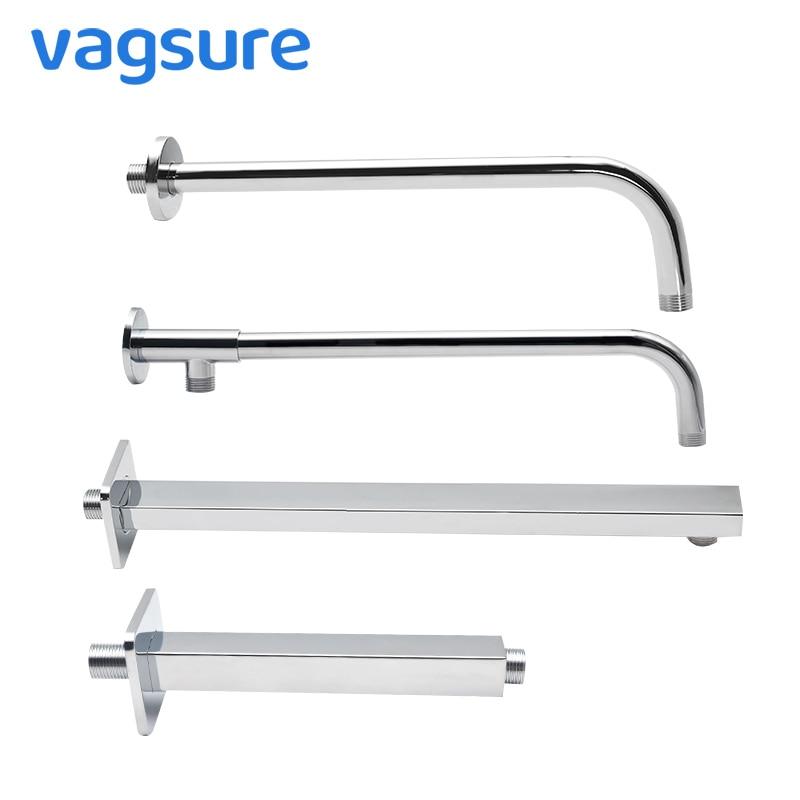 Square/Round Stainless Steel Shower Head Arm Wall/Ceiling Mounted Top Shower Head Arm Shower Head Holder Diverter G1/2