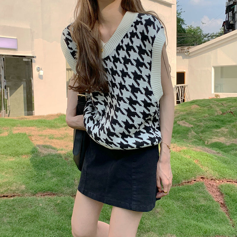 Hbab06904548642caacc57247d57e4cbe0 Women Sweater Vest Autumn Houndstooth Plaid V-neck Sleeveless Knitted Vintage Loose Oversized Female Sweater Vest Tops
