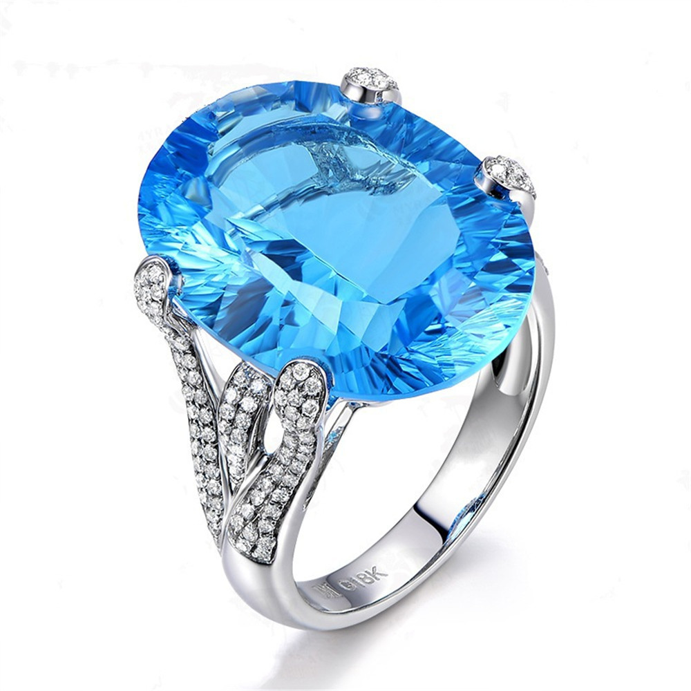 Big Aquamarine Gemstones Diamond Rings For Women Blue Crystal White Gold Silver Color Argent Jewelry Bijoux Bague Party Gifts