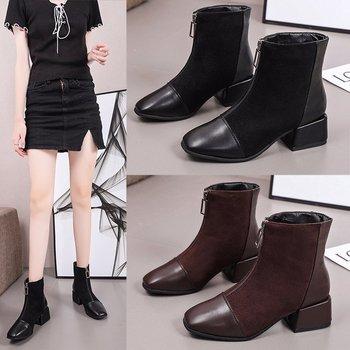 Womens boots autumn new style short British thick-soled Martin plus velvet zipper X705