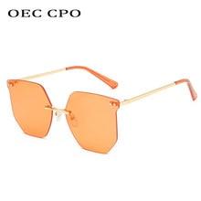 OEC CPO – lunettes De soleil surdimensionnées sans bords pour femmes, marque à la mode, verres transparents Orange, UV400