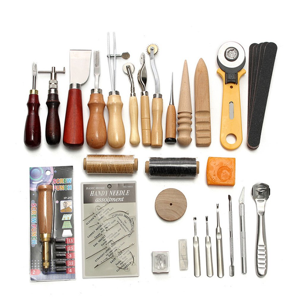 9/10/13/14/37/59 PCS Leather Craft Tools Kit Hand DIY Sewing Stitching Punch Carving Work Saddle Accessories For Leather Working