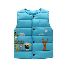 Baby Girls Boys Vests For kids Waistcoat Outerwear Clothing boys Down Waistcoat Cartoon Giraffe Vests Autumn Outerwear cheap Halozeroo COTTON thick O-Neck Outerwear Coats Broadcloth REGULAR Unisex Fashion Children Fits true to size take your normal size