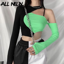 T-Shirts Green Tops Partywear Crop Patchwork Long-Sleeve Open-Shoulder Punk-Style Allneon