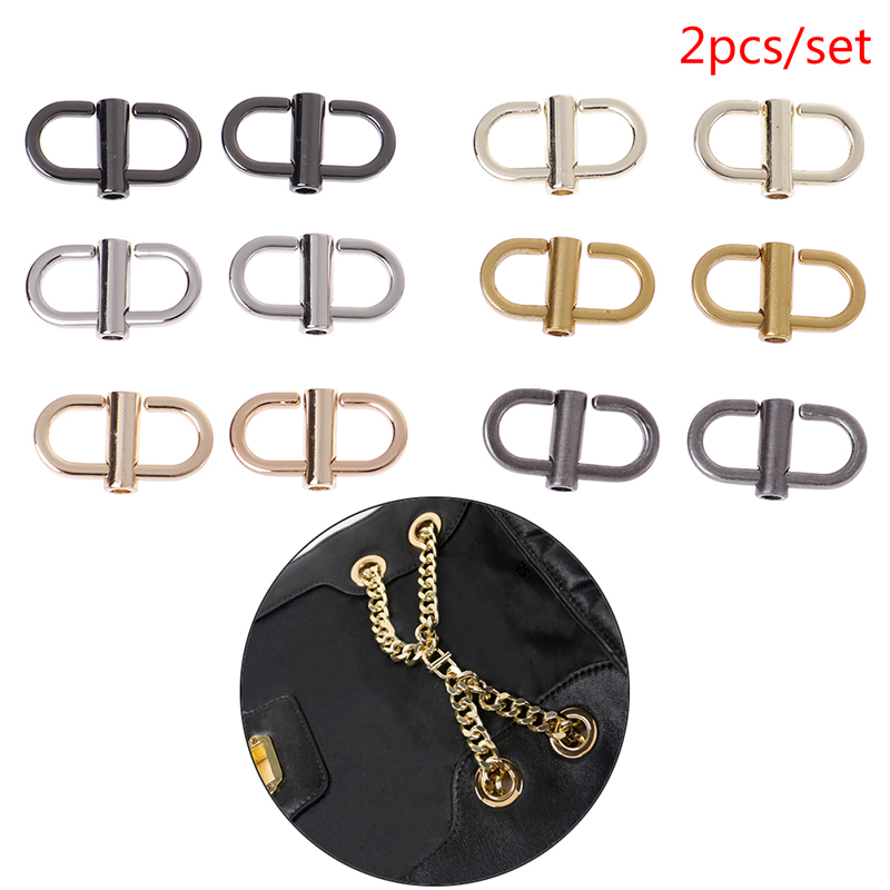 2Pcs/lot Metal Handbags Shoulder Chain Adjustable Shortening Buckle Bag Hook Bag Hardware Accessories Wholesale