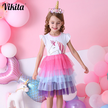 VIKITA Girls Unicorn Tutu Dress Kids Sequined Princess Vestido Girls Birthday Party Dress Children Summer Dresses Kids Clothes vikita girls unicorn dress princess tutu dress for girls children birthday party licorne vestidos kids autumn winter dresses