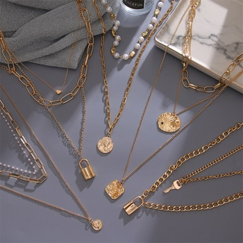 FNIO Vintage Multi Layered Women's Necklaces Pearl Round Coin Gold Necklaces Bohemia Fashion Long pendant Necklace 2020 Jewelry image
