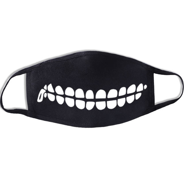 Lovely Cartoon Cotton Dust Masks Mouth Full Of Teeth Mask Festive Party Respirator Expression Respirator Mask Black Kpop Mask 3