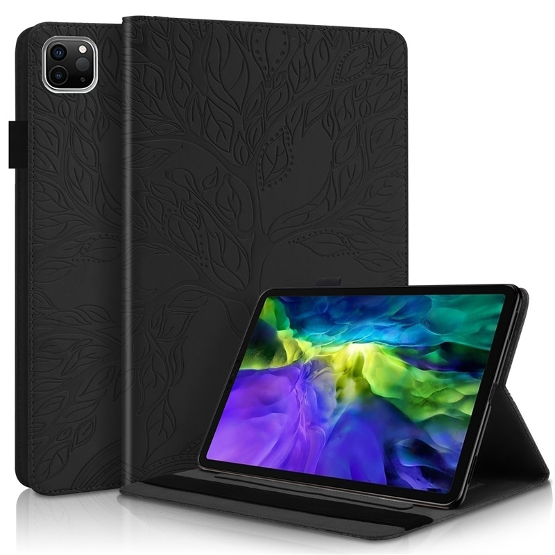 black Green Emboss Tree PU Leather Flip Case for Funda iPad Pro 11 2020 Case Wallet Stand Tablet