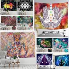 Indian Mandala Tapestry Parel Olifant Art Wall Opknoping Zon En Maan Meditatie Chakra Wandtapijten Voor Woonkamer Decor
