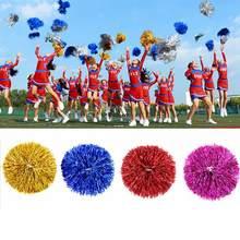 Par de pompoms de plástico com cabo duplo, pompons decorativos de metal, bolinhas cheerleading, decorador esportivo, 1 peça fonte de fornecimento