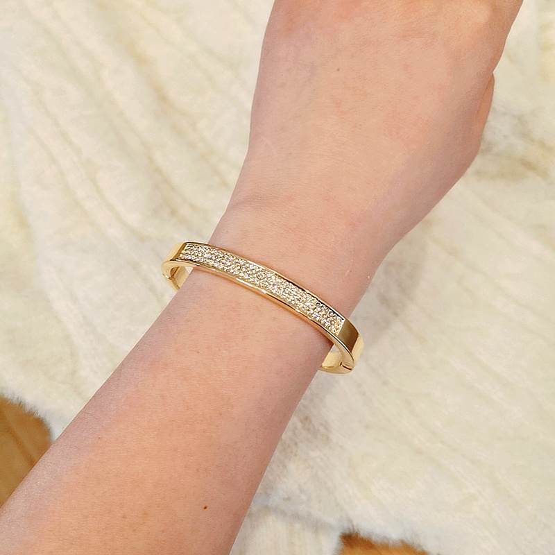 Elegant Classic Crystal Cuff Bangles Bracelets For Women Gold Color Simple Femal Opening Bangles Wedding Jewelry Accessories