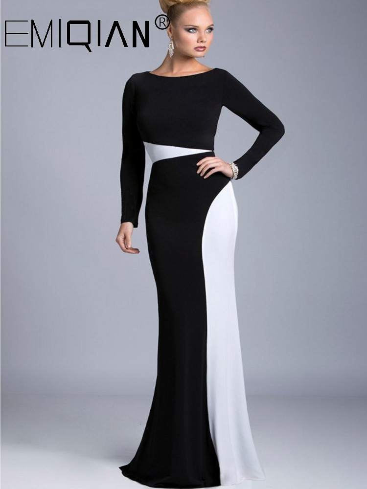 Elegant Black And White Jersey Formal Evening Dress,Arabic Dubai Long Sleeve Mermaid Party Evening Gowns Robe De Soiree