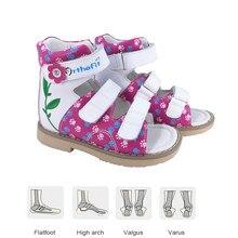 Girls Sandals Melissa Children Orthopedic Genuine Leather Shoes Fashion Adjustable Embroidered Flowers Princess Footwear