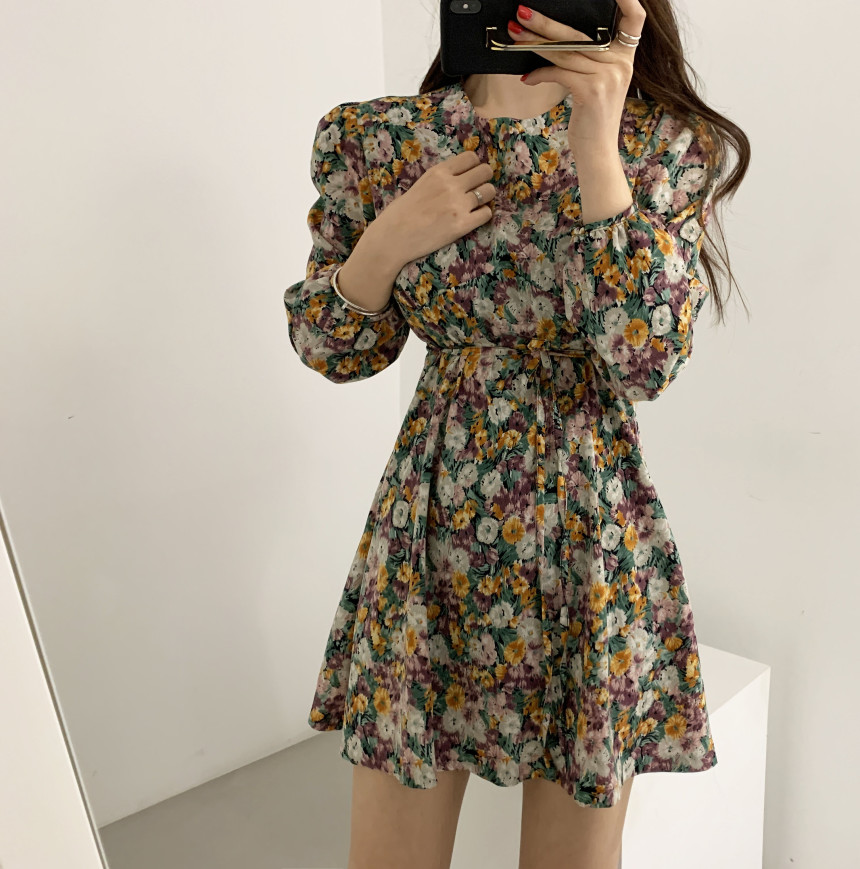 Hbab15f6d51ec4ce4b26e904b68332c51M - Spring Korean O-Neck Long Sleeves Floral Print Lace-Up Slim Mini Dress
