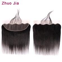 13x4 кружева Фронтальная застежка с волосами младенца ZhuoJia человеческих волос бразильские прямые волосы 13x4 закрытия свободной части