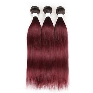 Image 2 - Brazilian Straight Human Hair Weave Bundles 1B 99J/Burgundy Ombre Red Human Hair Bundles Non Remy Human Hair Extension 1 Piece