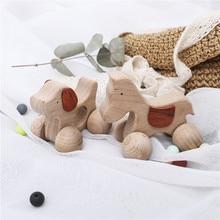 1PCS Baby Toys Wooden Car Cartoon Animals Shape Food Grade BPA Free Newborn Montessori Handmade Rattles Newborn Teether Toy Gift