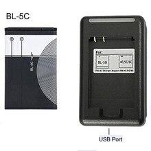 BL-5C bateria de substituição 1020mah original bl 5c baterias recarregáveis + carregador usb para o telefone móvel nokia li-ion 3.7v bl5c