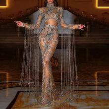 Luxury Dubai Beadings Prom Dresses Sheer Long Sleeves With Tassels High Neck Mermaid Prom Girls Custom Made Long Gowns