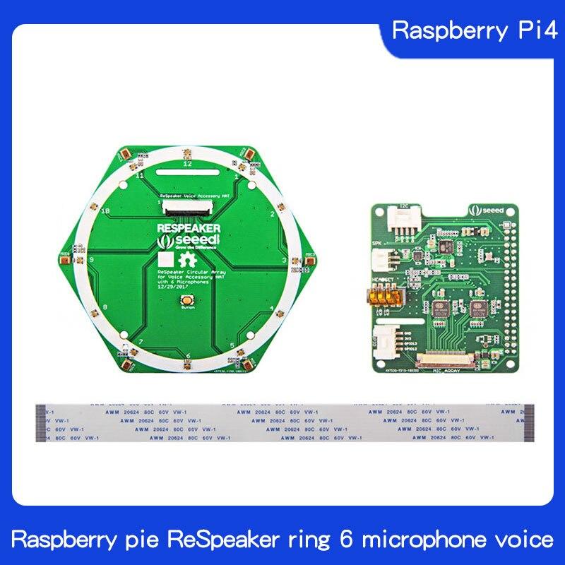 Raspberry Pi4 Raspberries Pie ReSpeaker Ring 6 Microphone Array Speech Recognition Pi0/3/3 B +
