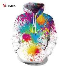 Mens Womens 3D Sweatshirt Colorful Graffiti Painted Graphic Hoodies Casual Couple Tracksuit Fall Pullover Tracksuit Tops zip front crop graphic pullover