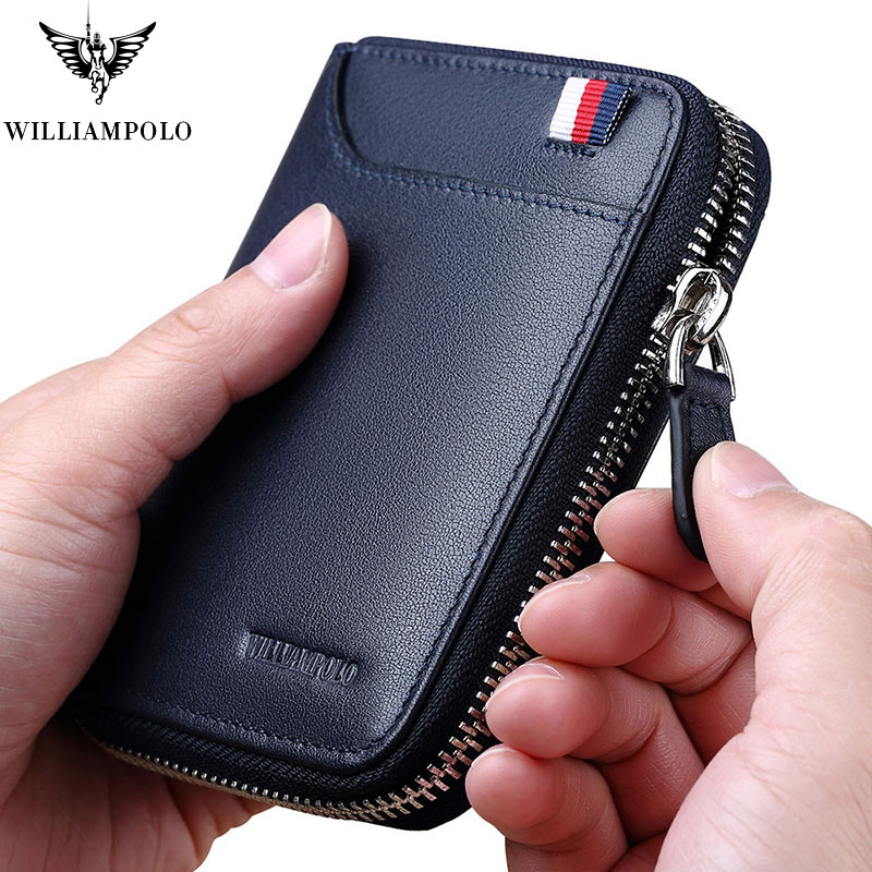 WILLIAMPOLO Fashion Genuine Leather Men Wallet Zipper Hasp Design Small Coin Purse Card Holder Wallet Minimalist Pl283