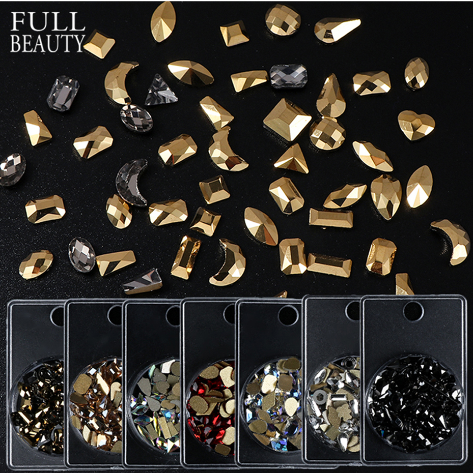 Mixed Design Nail Rhinestones AB Color Champagne 3D Glass Rhinestones Small Irregular Beads  Manicure Nail Art Decoration CH1568