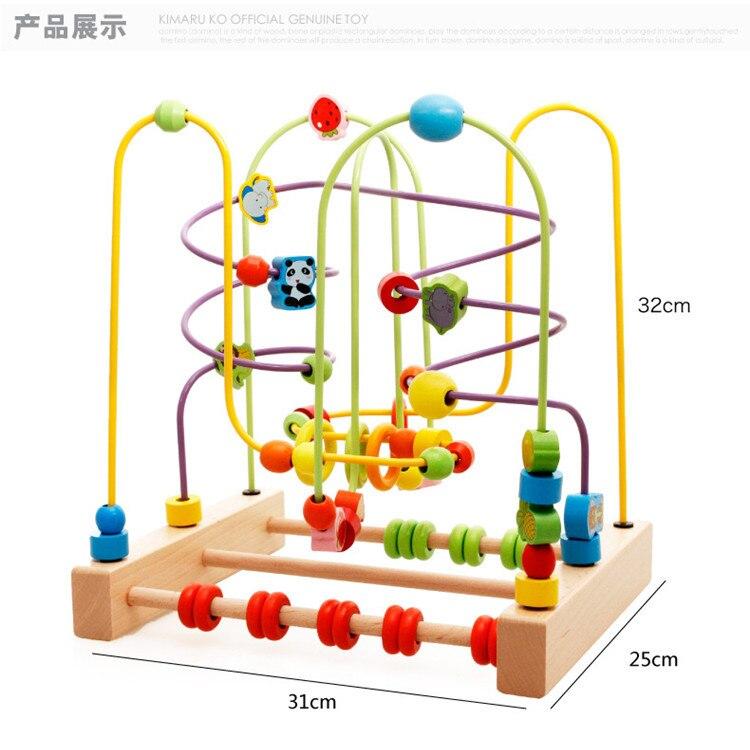 MWZ 7037 Wooden Children Beaded Bracelet Large Size Building Blocks Animal Fruit Bead-stringing Toy Educational Toy