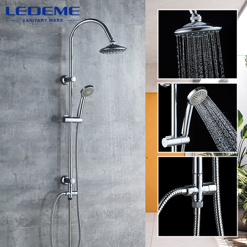 LEDEME Bathroom Shower Faucet Set Rainfall Shower Head Tub Spout Faucets Single Handle Mixer Tap Bath Shower L2412