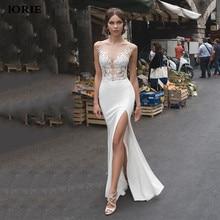 לורי בת ים חתונת שמלות 2020 תחרה צד פיצול שמלות כלה תחרה ללא משענת הכלה שמלת vestido דה noiva boho
