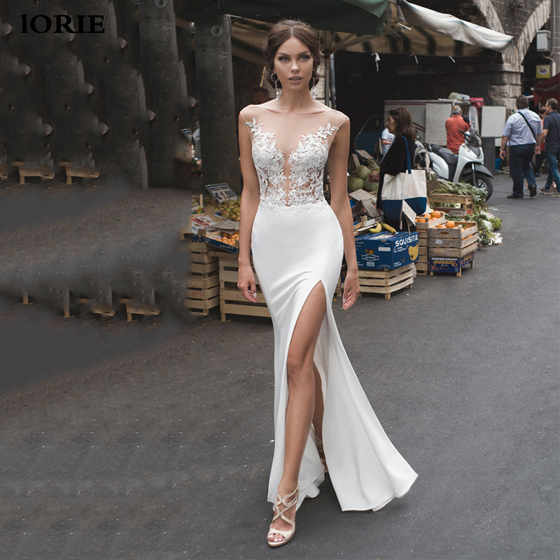 Lorie Mermaid Wedding Dresses 2020 Lace Side Split Wedding Gowns Lace Backless Bride Dress Vestido De Noiva Boho