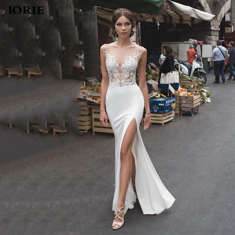 Lorie Mermaid Wedding Dresses 2020 Lace Side Split Wedding Gowns Lace Backless Bride Dress Vestido De Noiva Boho